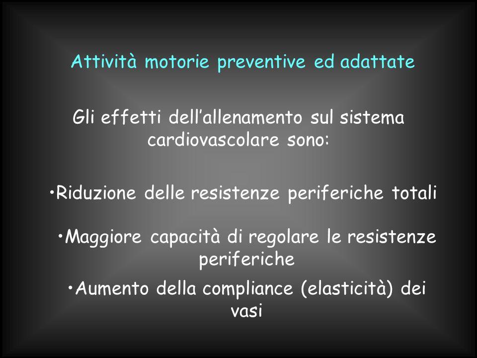 Attività motorie preventive ed adattate Gli effetti dellallenamento sul sistema cardiovascolare sono: Riduzione delle resistenze periferiche totali Ma