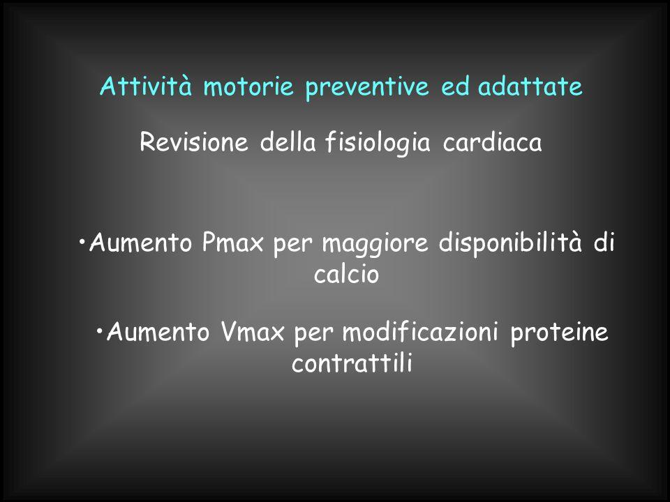 Attività motorie preventive ed adattate Aumento Pmax per maggiore disponibilità di calcio Revisione della fisiologia cardiaca Aumento Vmax per modific