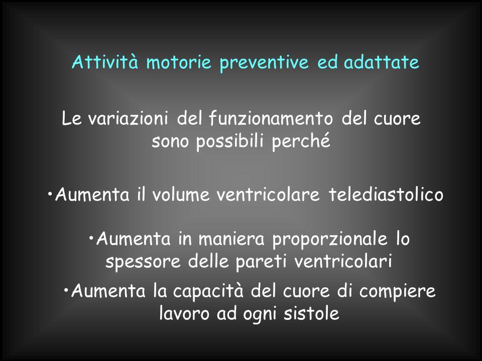 Attività motorie preventive ed adattate Le variazioni del funzionamento del cuore sono possibili perché Aumenta il volume ventricolare telediastolico