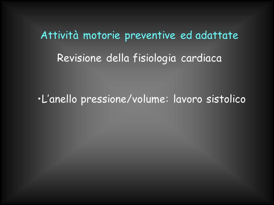 Attività motorie preventive ed adattate Lanello pressione/volume: lavoro sistolico Revisione della fisiologia cardiaca
