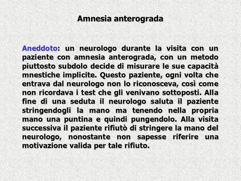 Amnesia anterograda Aneddoto: un neurologo durante la visita con un paziente con amnesia anterograda, con un metodo piuttosto subdolo decide di misura