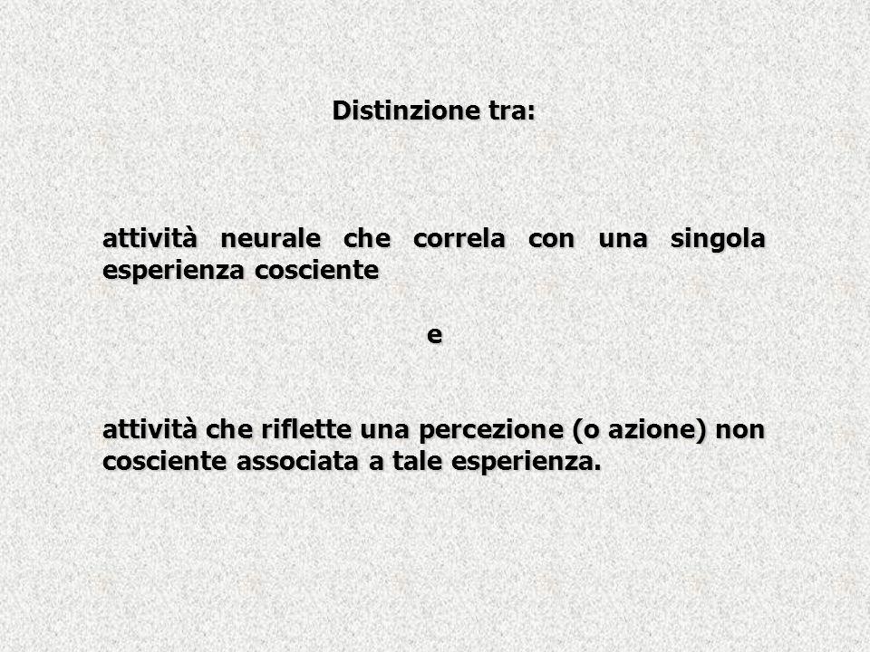 Distinzione tra: attività neurale che correla con una singola esperienza cosciente e attività che riflette una percezione (o azione) non cosciente ass