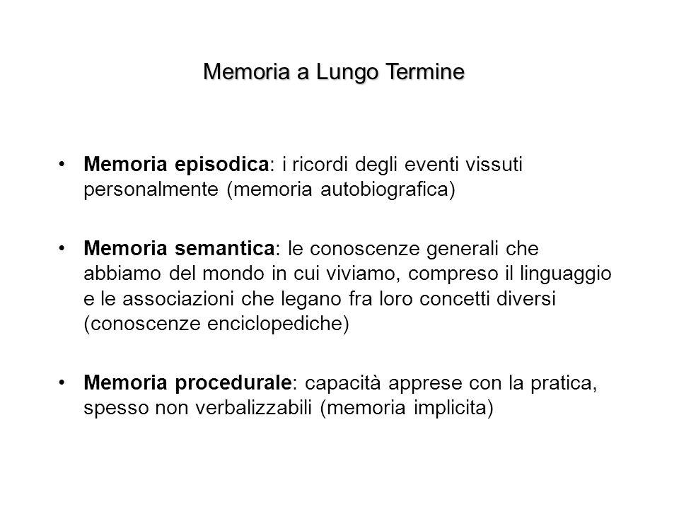 Memoria a Lungo Termine Memoria episodica: i ricordi degli eventi vissuti personalmente (memoria autobiografica) Memoria semantica: le conoscenze generali che abbiamo del mondo in cui viviamo, compreso il linguaggio e le associazioni che legano fra loro concetti diversi (conoscenze enciclopediche) Memoria procedurale: capacità apprese con la pratica, spesso non verbalizzabili (memoria implicita)