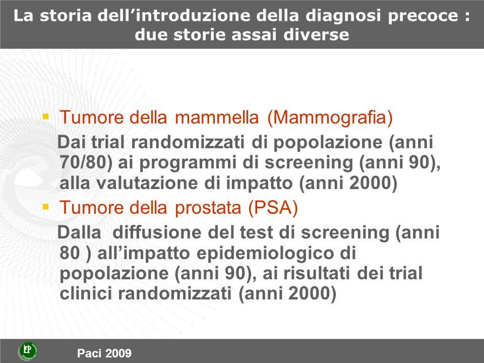 La storia dellintroduzione della diagnosi precoce : due storie assai diverse Tumore della mammella (Mammografia) Dai trial randomizzati di popolazione (anni 70/80) ai programmi di screening (anni 90), alla valutazione di impatto (anni 2000) Tumore della prostata (PSA) Dalla diffusione del test di screening (anni 80 ) allimpatto epidemiologico di popolazione (anni 90), ai risultati dei trial clinici randomizzati (anni 2000) Paci 2009