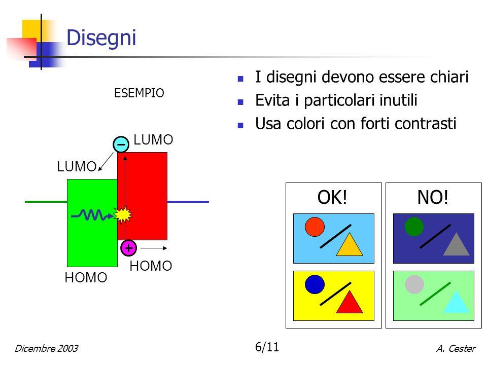 A. CesterDicembre 2003 6/11 Disegni I disegni devono essere chiari Evita i particolari inutili Usa colori con forti contrasti NO!OK! ESEMPIO LUMO HOMO