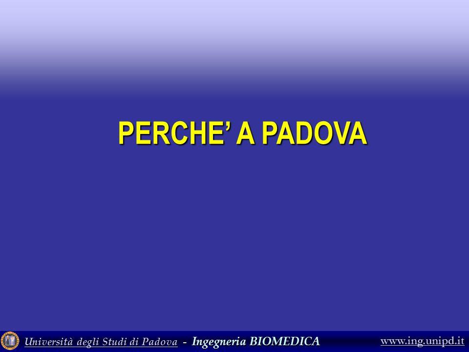 Università degli Studi di PadovaUniversità degli Studi di Padova - Ingegneria BIOMEDICA Università degli Studi di Padova www.ing.unipd.it PERCHE A PAD