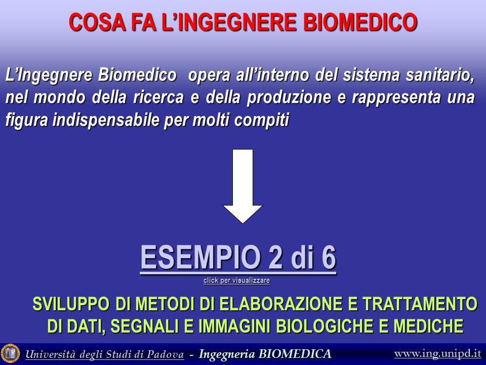 Università degli Studi di PadovaUniversità degli Studi di Padova - Ingegneria BIOMEDICA Università degli Studi di Padova www.ing.unipd.it ESEMPIO 2 di