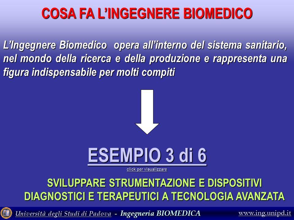 Università degli Studi di PadovaUniversità degli Studi di Padova - Ingegneria BIOMEDICA Università degli Studi di Padova www.ing.unipd.it ESEMPIO 3 di