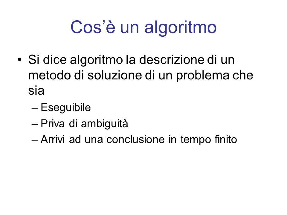 Cosè un algoritmo Si dice algoritmo la descrizione di un metodo di soluzione di un problema che sia –Eseguibile –Priva di ambiguità –Arrivi ad una con