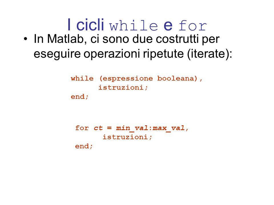 I cicli while e for In Matlab, ci sono due costrutti per eseguire operazioni ripetute (iterate): while (espressione booleana), istruzioni; end; for ct