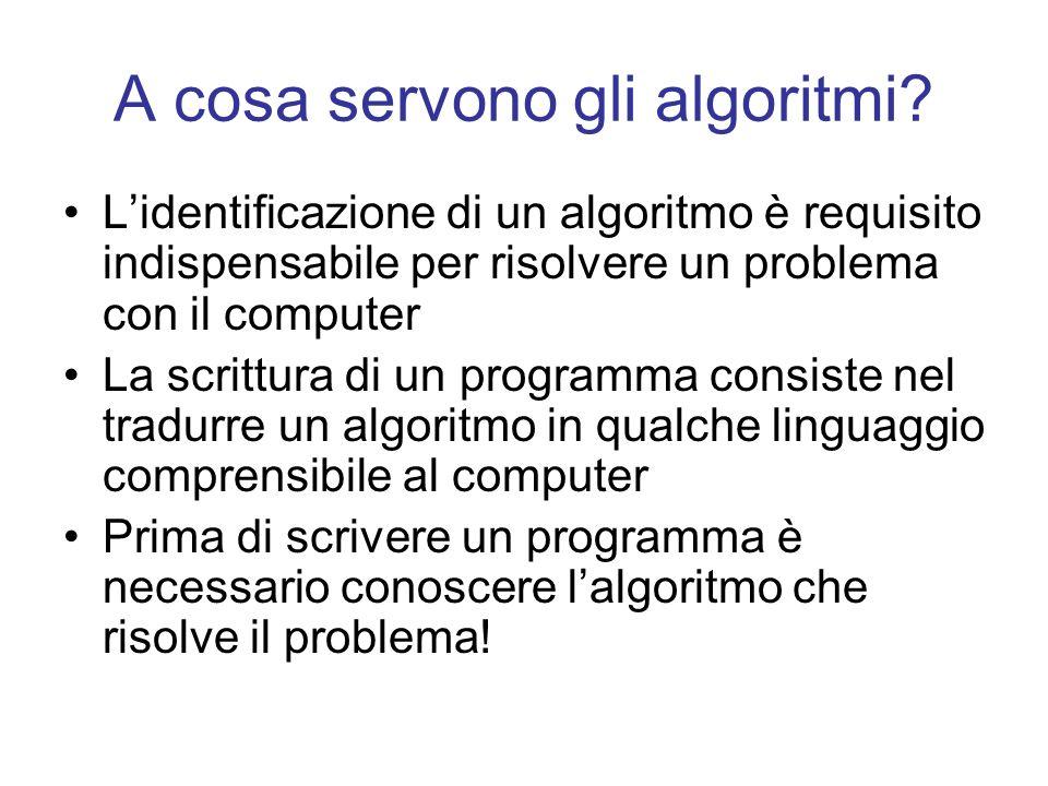 A cosa servono gli algoritmi? Lidentificazione di un algoritmo è requisito indispensabile per risolvere un problema con il computer La scrittura di un