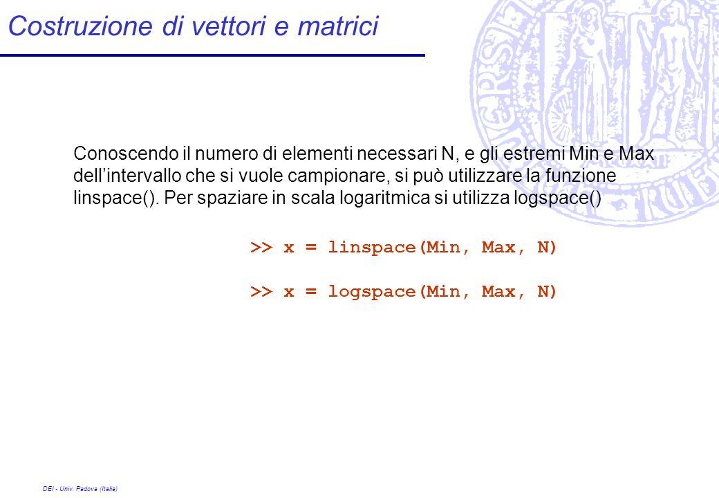 DEI - Univ. Padova (Italia) Costruzione di vettori e matrici >> x = linspace(Min, Max, N) >> x = logspace(Min, Max, N) Conoscendo il numero di element