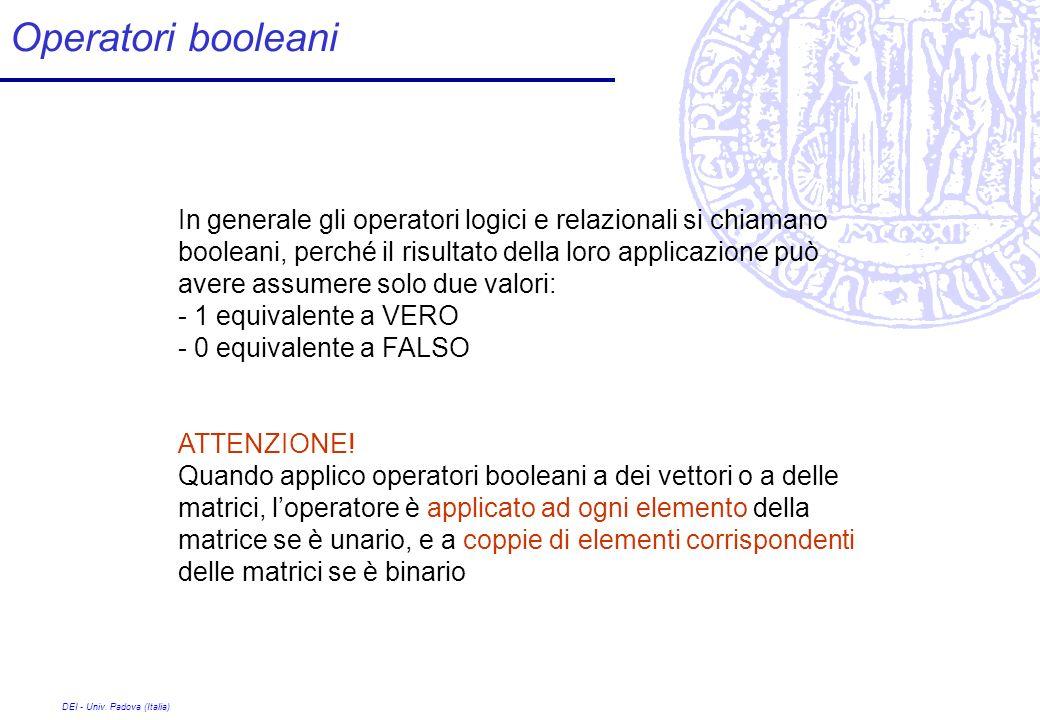 DEI - Univ. Padova (Italia) Operatori booleani In generale gli operatori logici e relazionali si chiamano booleani, perché il risultato della loro app