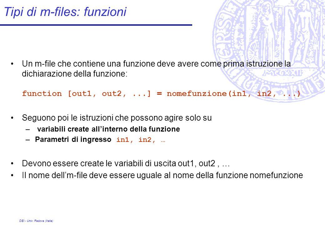 DEI - Univ. Padova (Italia) Tipi di m-files: funzioni Un m-file che contiene una funzione deve avere come prima istruzione la dichiarazione della funz