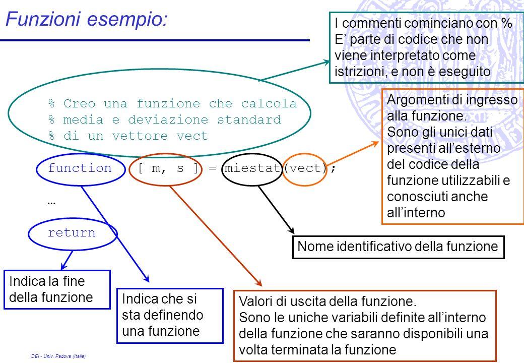 DEI - Univ. Padova (Italia) Funzioni esempio: % Creo una funzione che calcola % media e deviazione standard % di un vettore vect function [ m, s ] = m