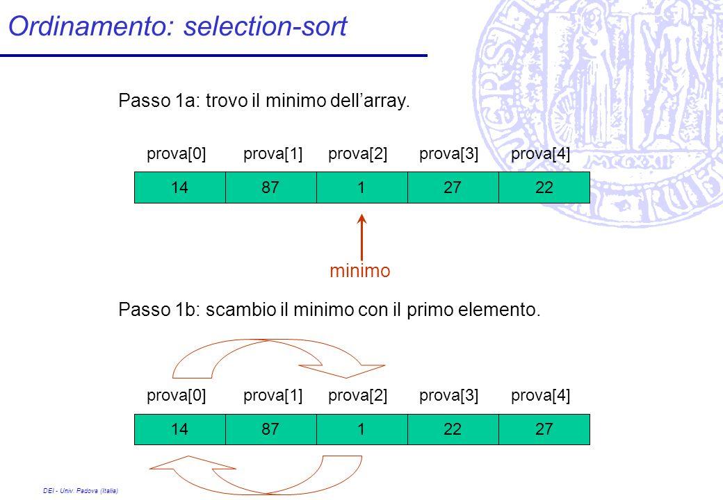 DEI - Univ. Padova (Italia) Ordinamento: selection-sort 27 prova[0] 1228714 prova[1]prova[2]prova[3]prova[4] Passo 1a: trovo il minimo dellarray. 22 p