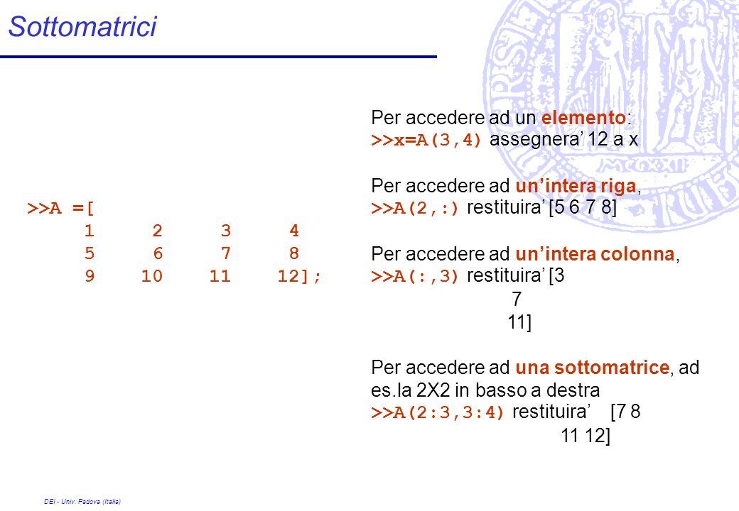DEI - Univ. Padova (Italia) Sottomatrici >>A =[ 1 2 3 4 5 6 7 8 9 10 11 12]; Per accedere ad un elemento: >>x=A(3,4) assegnera 12 a x Per accedere ad
