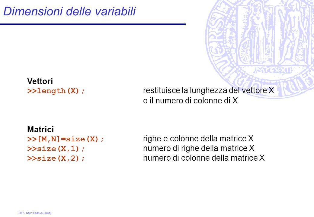 DEI - Univ. Padova (Italia) Dimensioni delle variabili Vettori >>length(X); restituisce la lunghezza del vettore X o il numero di colonne di X Matrici