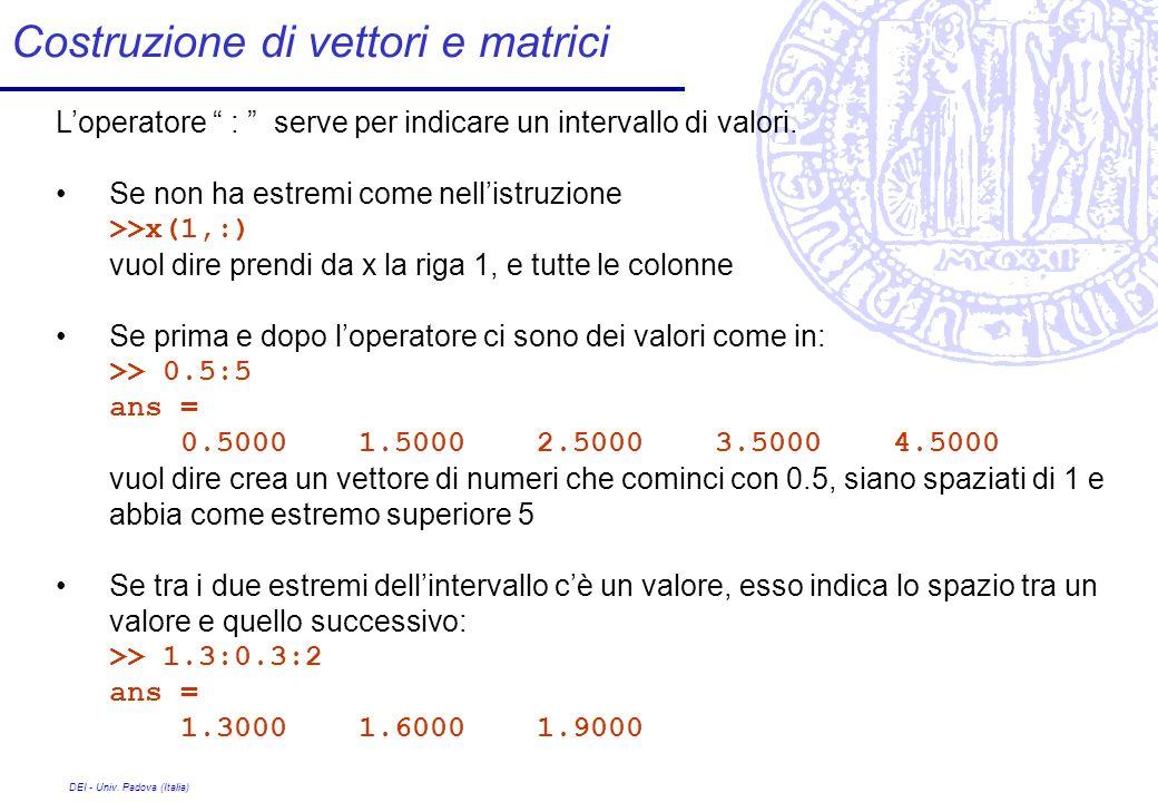 DEI - Univ. Padova (Italia) Costruzione di vettori e matrici Loperatore : serve per indicare un intervallo di valori. Se non ha estremi come nellistru