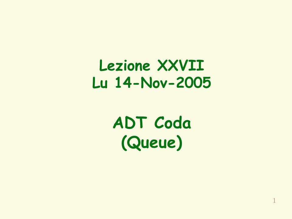42 public class ListNode { private Object element; private ListNode next; //stranezza public ListNode(Object e, ListNode n) { element = e; next = n; } public ListNode() { this(null, null); } public Object getElement() { return element; } public ListNode getNext() { return next; } public void setElement(Object e) { element = e; } public void setNext(ListNode n) { next = n; } } Nodo di una catena