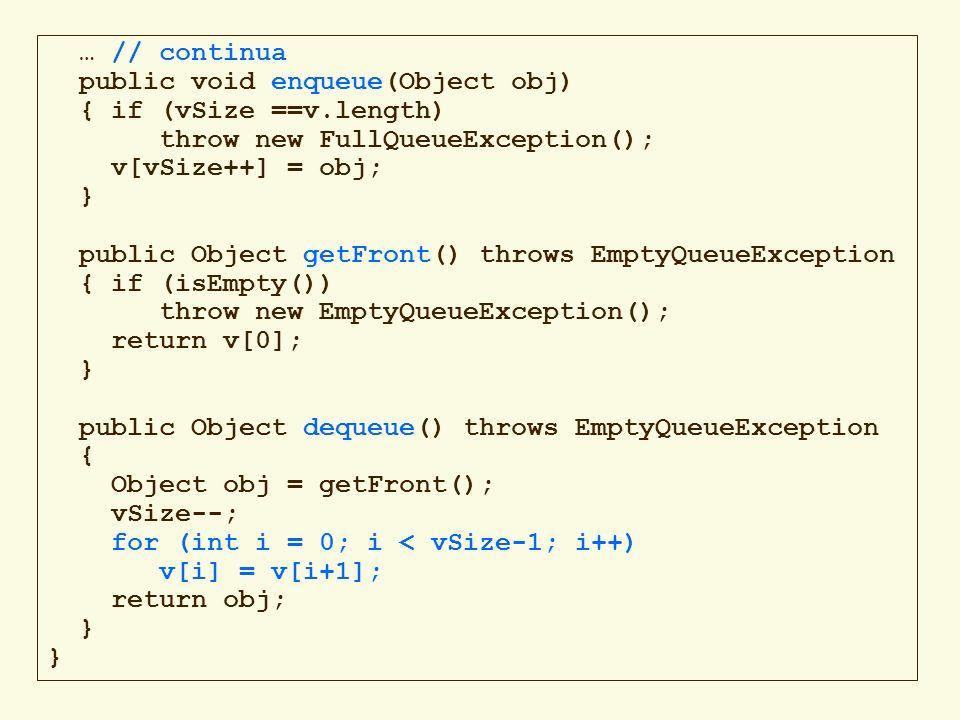 90 Iteratore in una catena public interface ListIterator { boolean hasNext(); Object next(); // inserisce loggetto x in un nuovo nodo // che si aggiunge alla catena PRIMA della // posizione attuale, // senza modificare la posizione delliteratore void add(Object x); //elimina lultimo nodo esaminato da next() //senza modificare la posizione delliteratore; //può essere invocato solo dopo uninvocazione //di next() (lancia IllegalStateException) void remove(); }