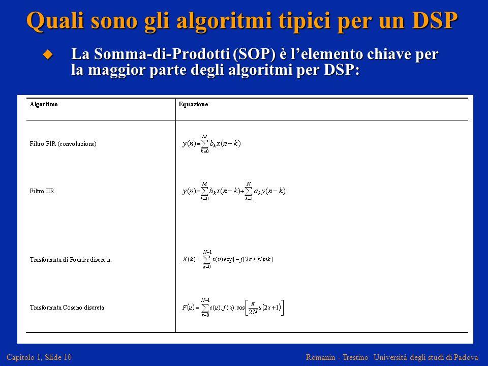 Romanin - Trestino Università degli studi di Padova Capitolo 1, Slide 11 Moltiplicazioni in Hardware I processori DSP, sono ottimizzati per eseguire operazioni di somma e moltiplicazione.