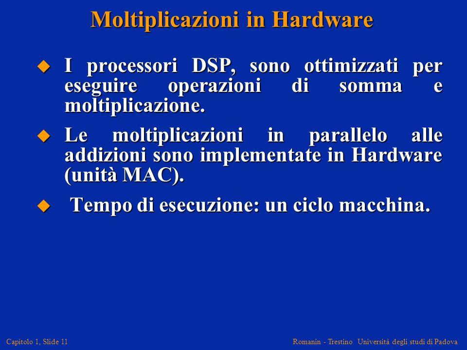 Romanin - Trestino Università degli studi di Padova Capitolo 1, Slide 11 Moltiplicazioni in Hardware I processori DSP, sono ottimizzati per eseguire o