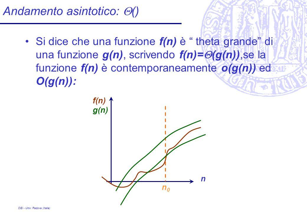 DEI - Univ. Padova (Italia) Andamento asintotico: () Si dice che una funzione f(n) è theta grande di una funzione g(n), scrivendo f(n)= (g(n)),se la f