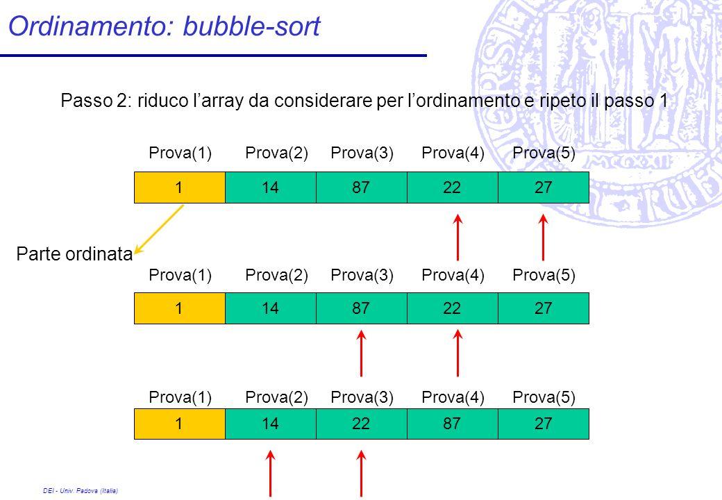 DEI - Univ. Padova (Italia) Ordinamento: bubble-sort 228727141 Passo 2: riduco larray da considerare per lordinamento e ripeto il passo 1 228727141 87