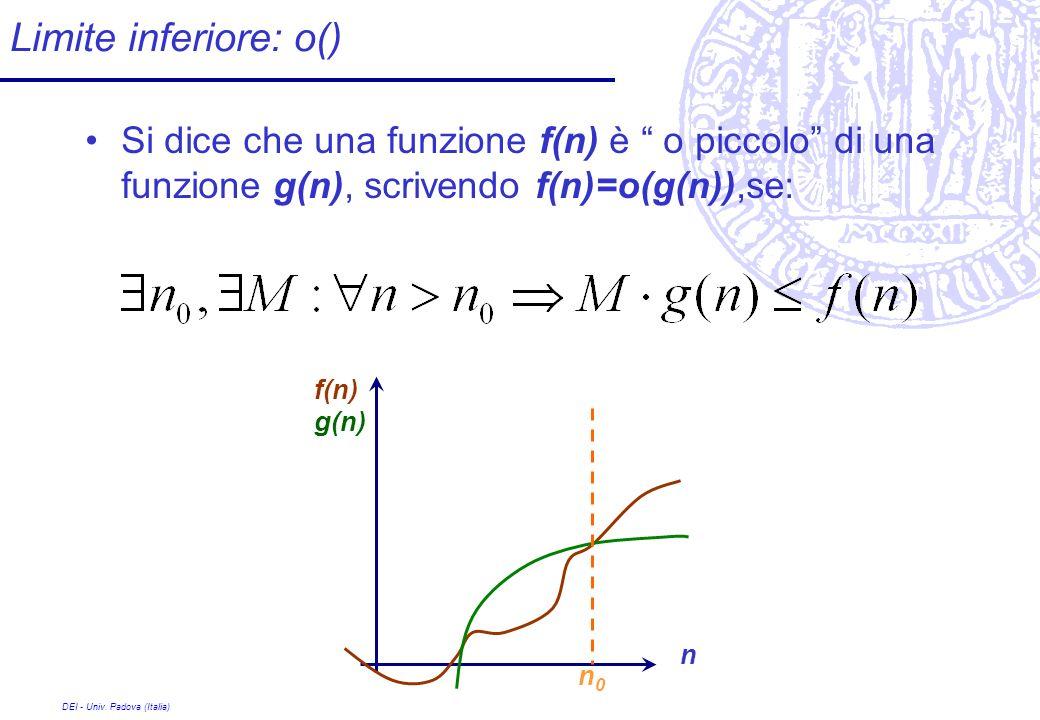 DEI - Univ. Padova (Italia) Limite inferiore: o() Si dice che una funzione f(n) è o piccolo di una funzione g(n), scrivendo f(n)=o(g(n)),se: n f(n) g(