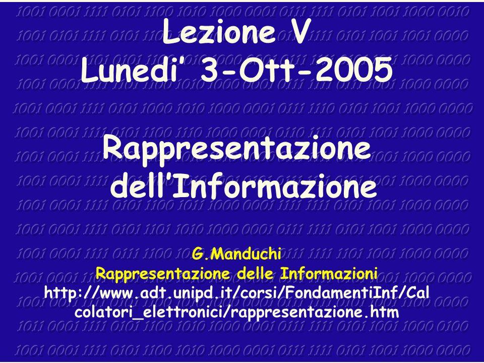 1 Lezione V Lunedi 3-Ott-2005 Rappresentazione dellInformazione G.Manduchi Rappresentazione delle Informazioni http://www.adt.unipd.it/corsi/Fondament