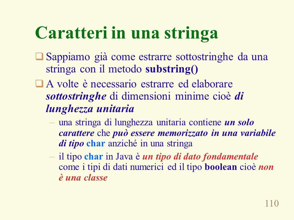 110 Caratteri in una stringa Sappiamo già come estrarre sottostringhe da una stringa con il metodo substring() A volte è necessario estrarre ed elabor