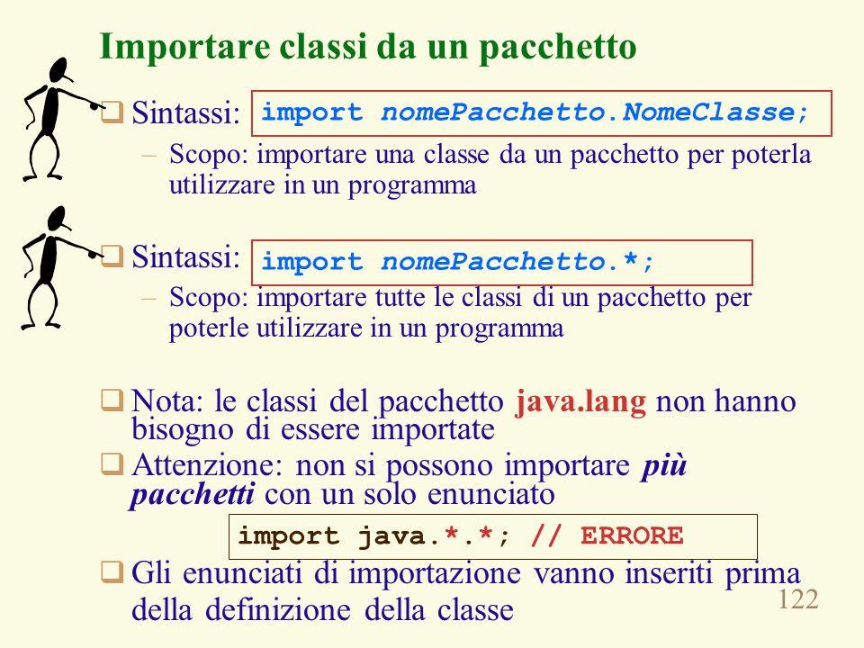 122 Importare classi da un pacchetto Sintassi: –Scopo: importare una classe da un pacchetto per poterla utilizzare in un programma Sintassi: –Scopo: i