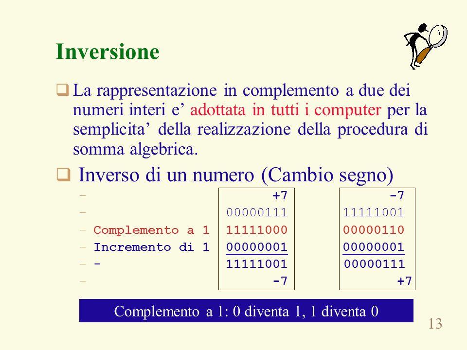 13 Inversione La rappresentazione in complemento a due dei numeri interi e adottata in tutti i computer per la semplicita della realizzazione della pr