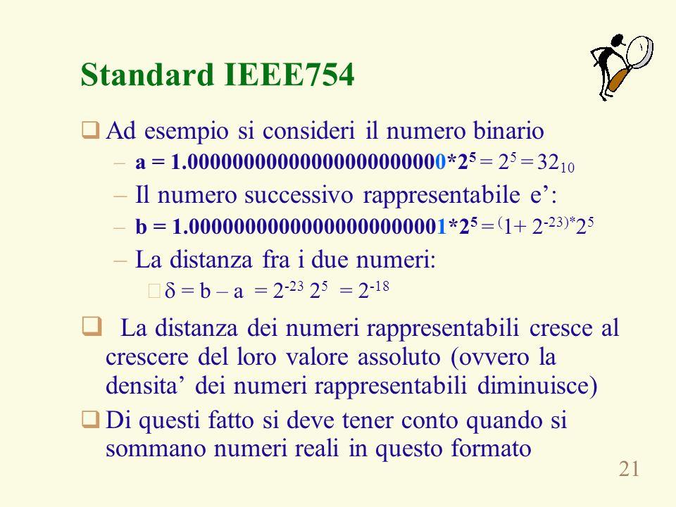 21 Standard IEEE754 Ad esempio si consideri il numero binario –a = 1.00000000000000000000000*2 5 = 2 5 = 32 10 –Il numero successivo rappresentabile e