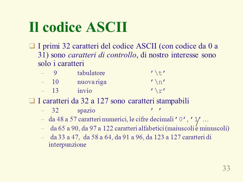 33 Il codice ASCII I primi 32 caratteri del codice ASCII (con codice da 0 a 31) sono caratteri di controllo, di nostro interesse sono solo i caratteri