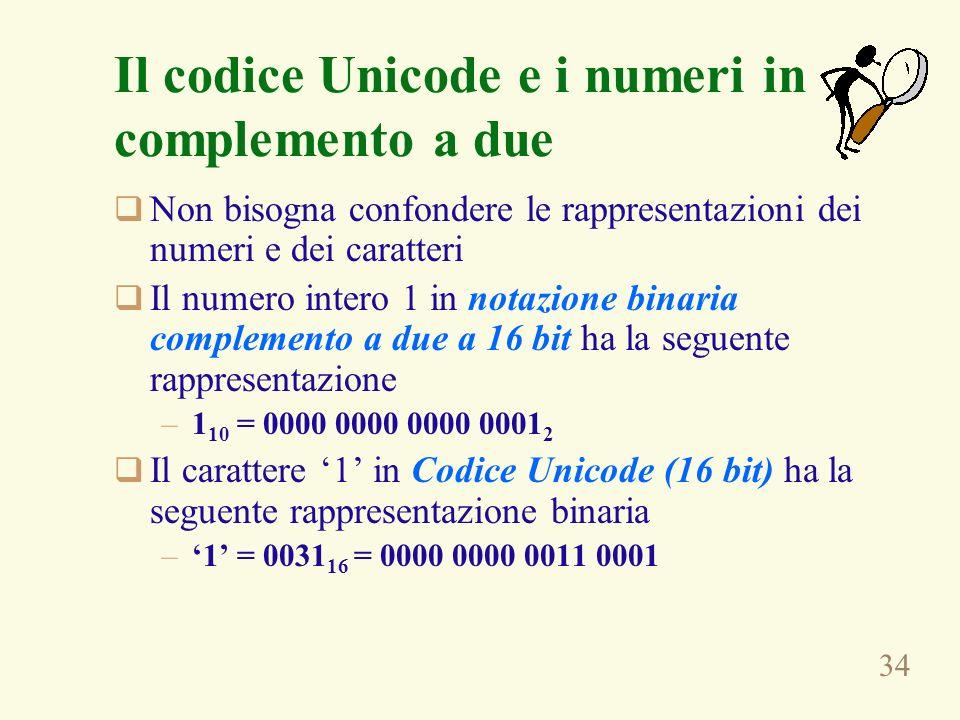 34 Il codice Unicode e i numeri in complemento a due Non bisogna confondere le rappresentazioni dei numeri e dei caratteri Il numero intero 1 in notaz