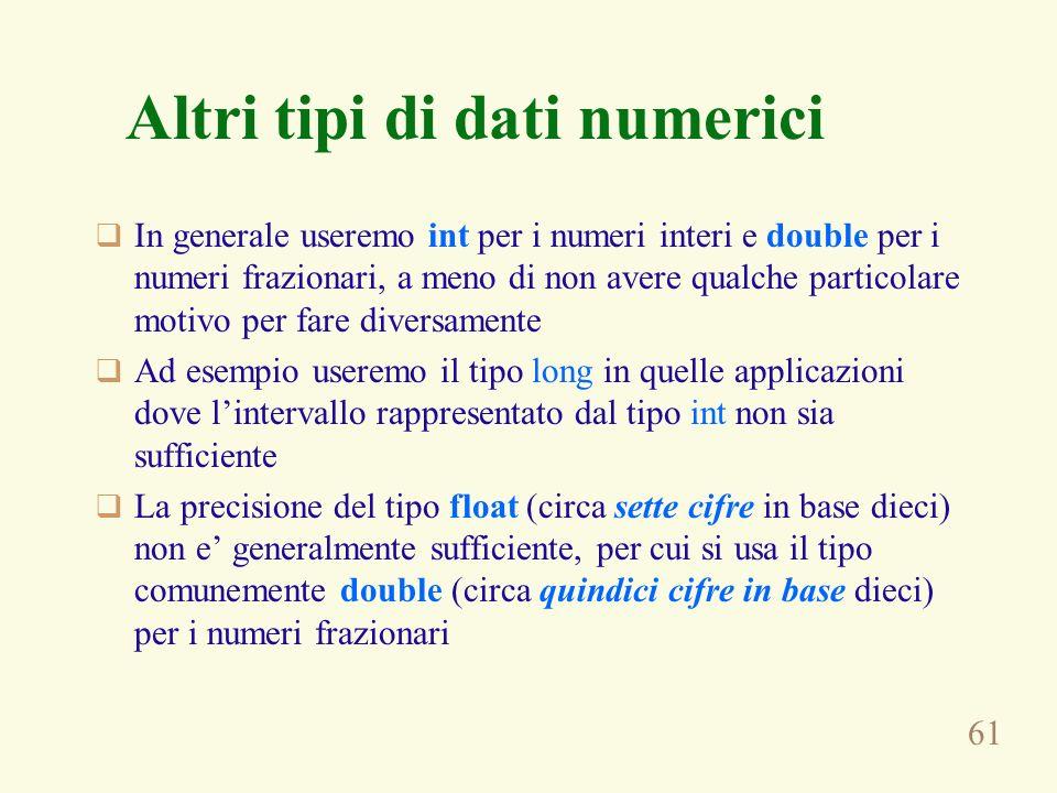 61 Altri tipi di dati numerici In generale useremo int per i numeri interi e double per i numeri frazionari, a meno di non avere qualche particolare m