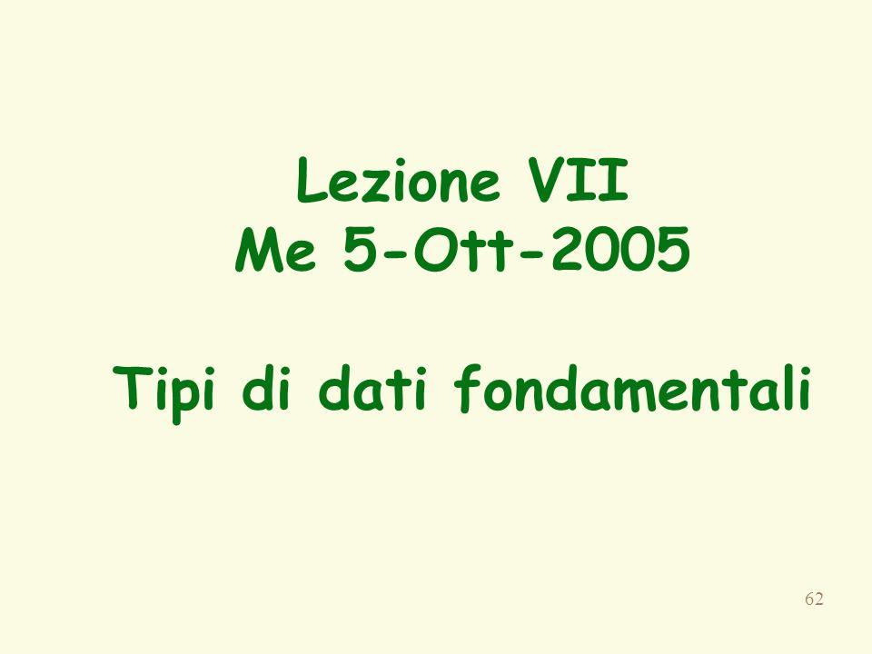 62 Lezione VII Me 5-Ott-2005 Tipi di dati fondamentali