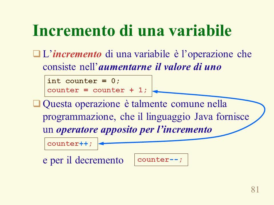 81 Incremento di una variabile Lincremento di una variabile è loperazione che consiste nellaumentarne il valore di uno Questa operazione è talmente co