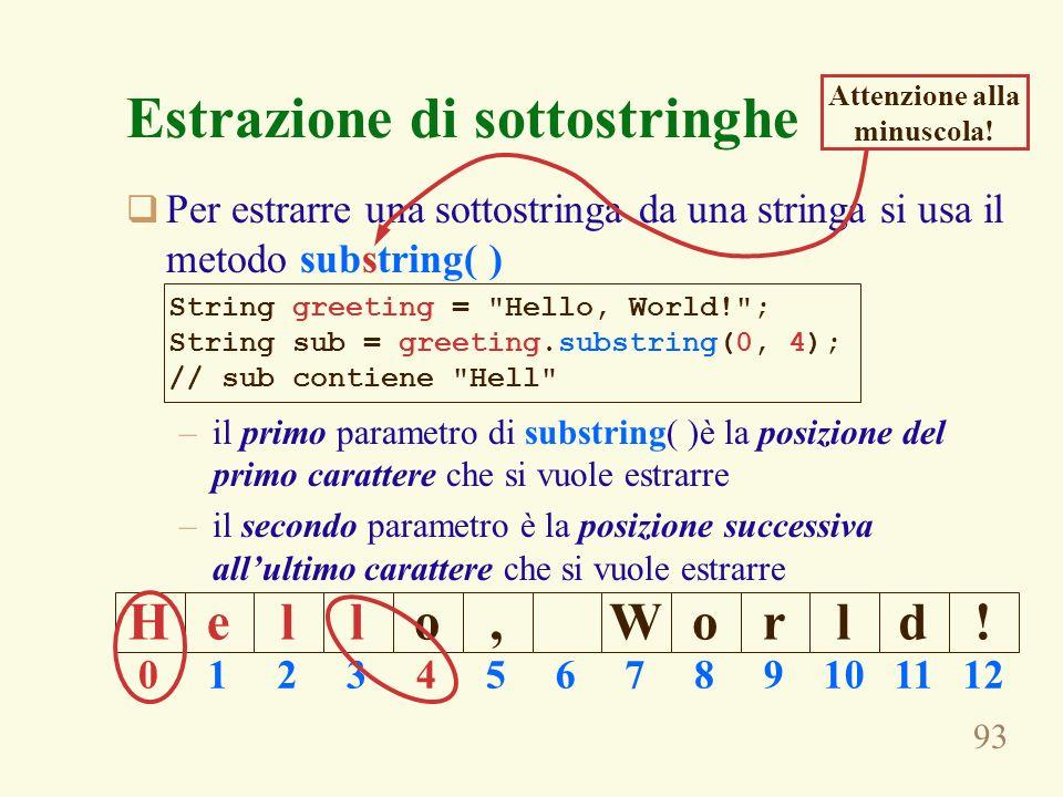 93 Estrazione di sottostringhe Per estrarre una sottostringa da una stringa si usa il metodo substring( ) –il primo parametro di substring( )è la posi