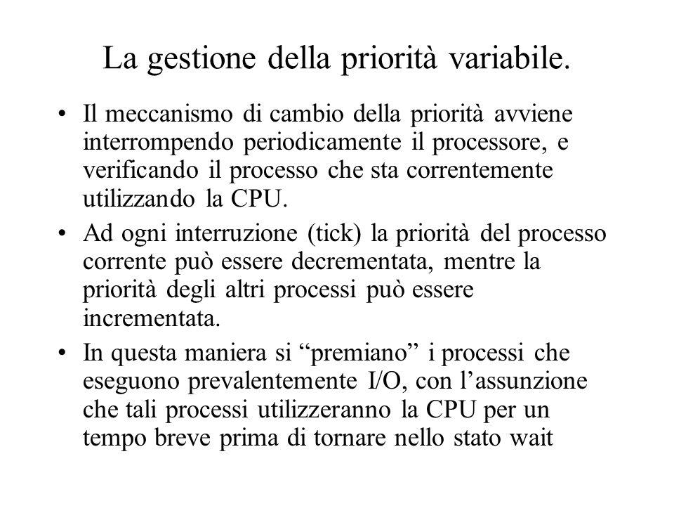La gestione della priorità variabile. Il meccanismo di cambio della priorità avviene interrompendo periodicamente il processore, e verificando il proc