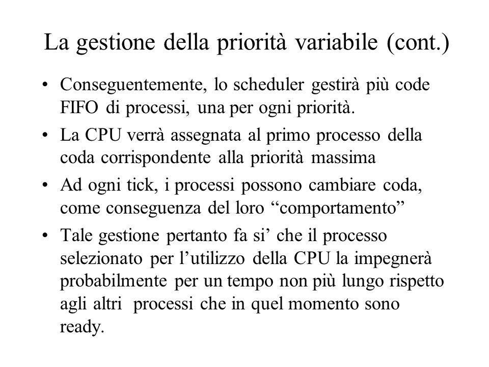 La gestione della priorità variabile (cont.) Conseguentemente, lo scheduler gestirà più code FIFO di processi, una per ogni priorità. La CPU verrà ass