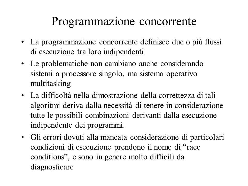 Programmazione concorrente La programmazione concorrente definisce due o più flussi di esecuzione tra loro indipendenti Le problematiche non cambiano