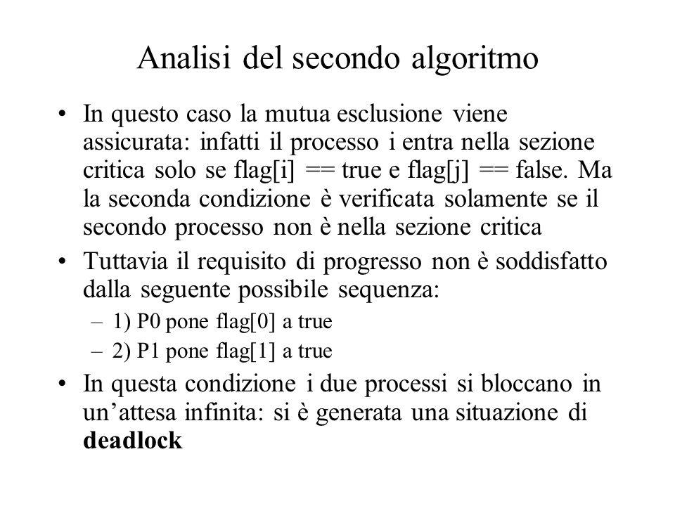 Analisi del secondo algoritmo In questo caso la mutua esclusione viene assicurata: infatti il processo i entra nella sezione critica solo se flag[i] =
