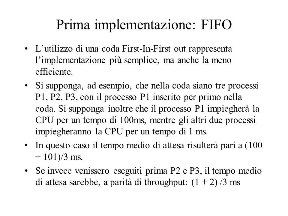 Shortest Job First Con riferimento allesempio precedente, si può intuire che lorganizzazione ideale assegnerebbe la CPU per prima al processo che la utilizzerà per il tempo minore.