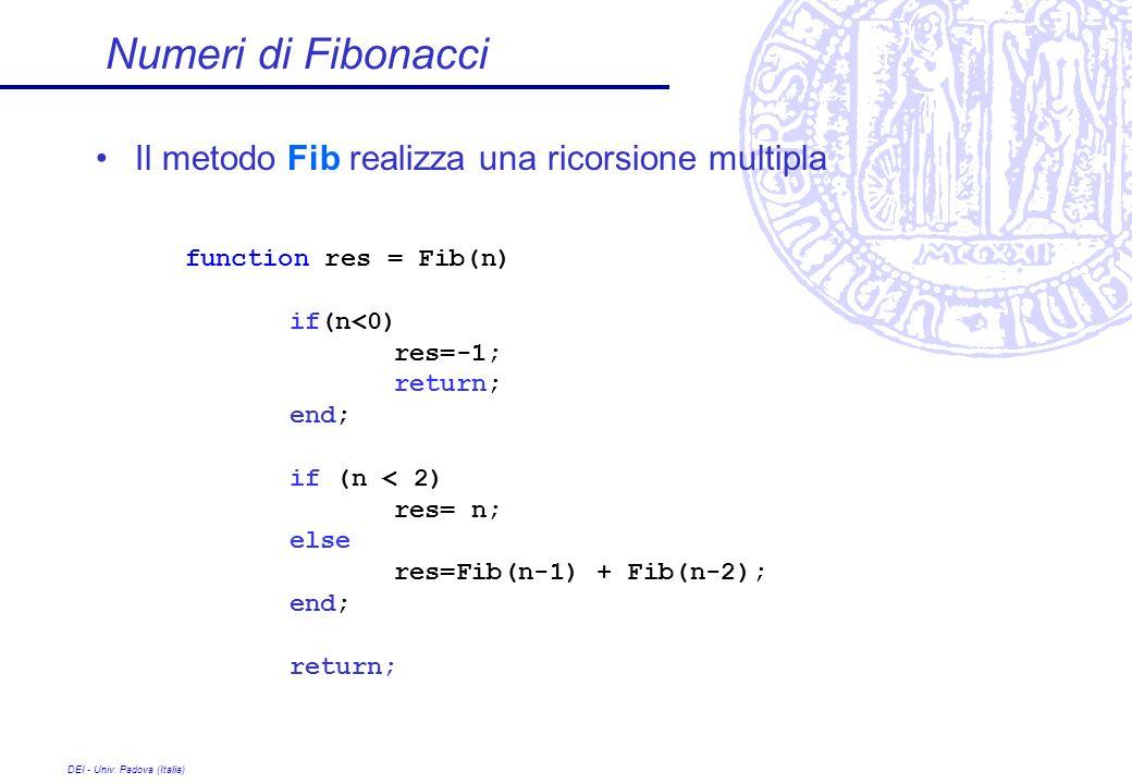 DEI - Univ. Padova (Italia) Il metodo Fib realizza una ricorsione multipla Numeri di Fibonacci function res = Fib(n) if(n<0) res=-1; return; end; if (