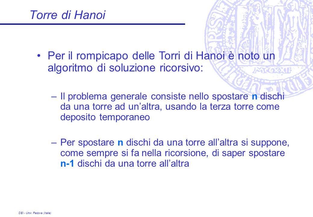 DEI - Univ. Padova (Italia) Torre di Hanoi Per il rompicapo delle Torri di Hanoi è noto un algoritmo di soluzione ricorsivo: –Il problema generale con
