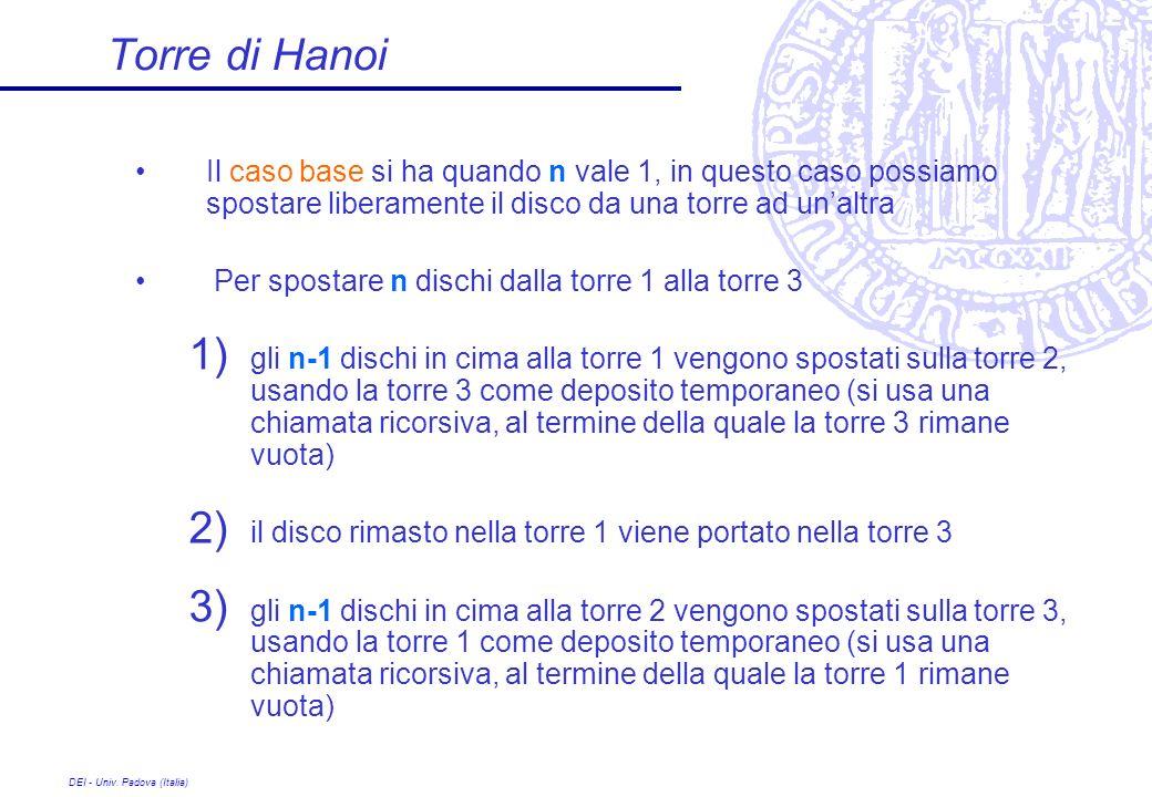 DEI - Univ. Padova (Italia) Torre di Hanoi Il caso base si ha quando n vale 1, in questo caso possiamo spostare liberamente il disco da una torre ad u