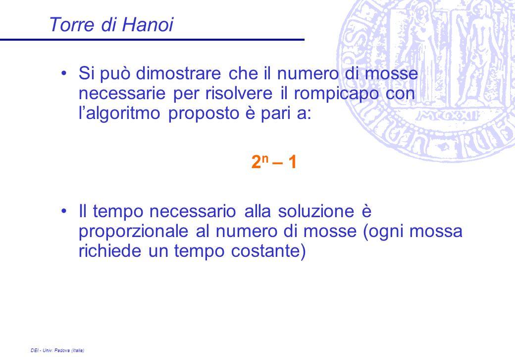 DEI - Univ. Padova (Italia) Torre di Hanoi Si può dimostrare che il numero di mosse necessarie per risolvere il rompicapo con lalgoritmo proposto è pa